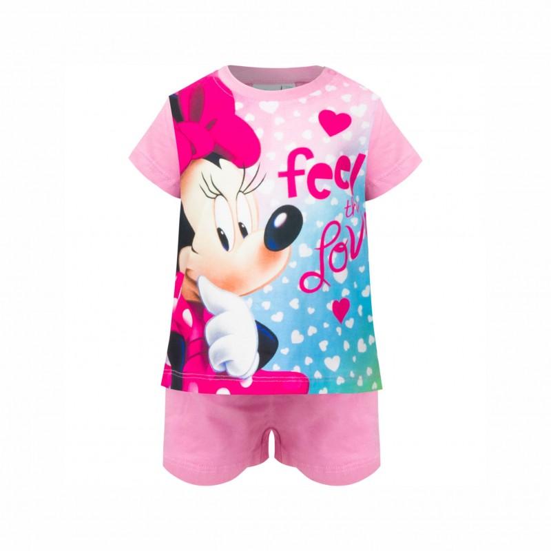 БебешкапижамаMinnie Mouse (Мини Маус)скъс ръкав и къси панталони за момичета. - SE0372 pink-74 - view 1