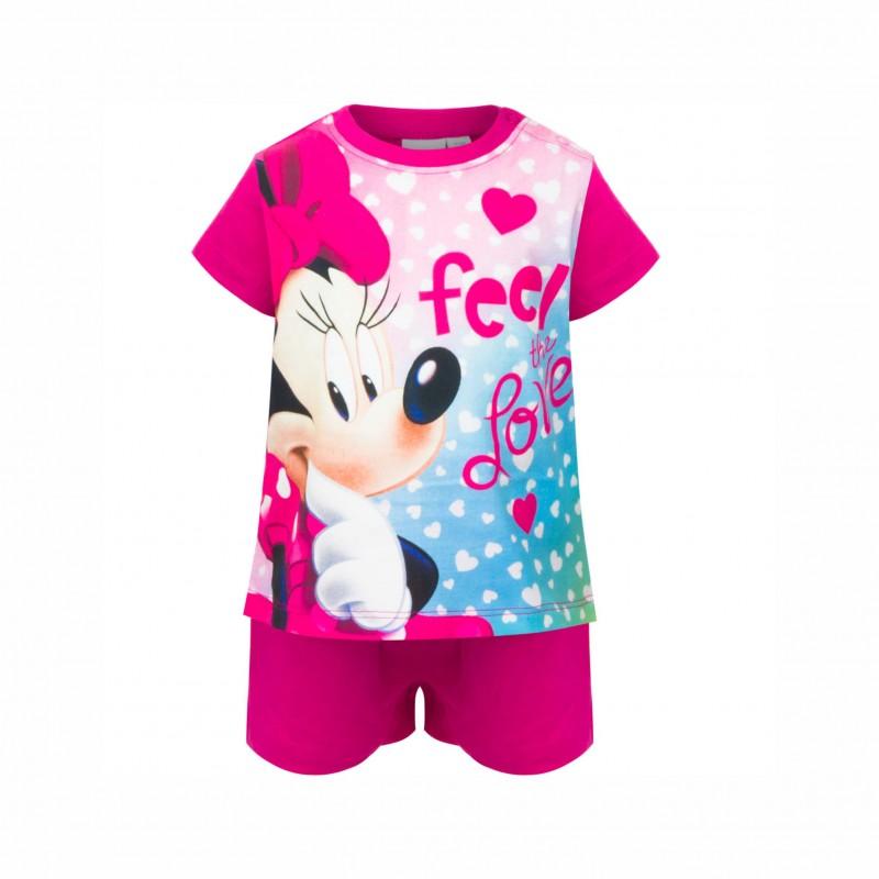 БебешкапижамаMinnie Mouse (Мини Маус)скъс ръкав и къси панталони за момичета. - SE0372 fuxia-74 - view 1