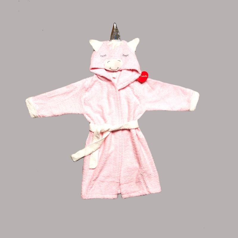 Халат за баня Bebetto в бяло и розово за момичета. - H386 pink - view 1