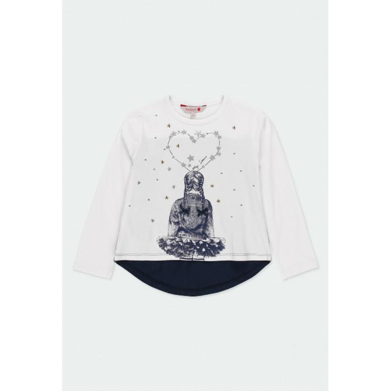 Тениска Boboli с дълъг ръкав за момичета - 401094-1100 - view 1
