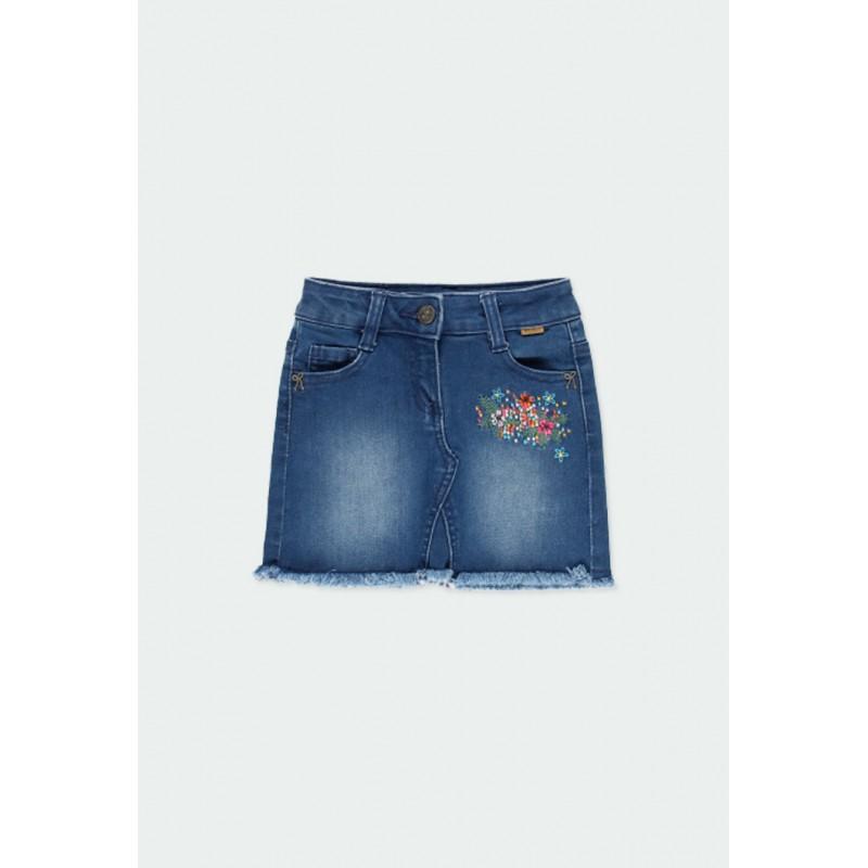 Детска дънкова пола Boboli за момичета - 431075-BLUE - view 1