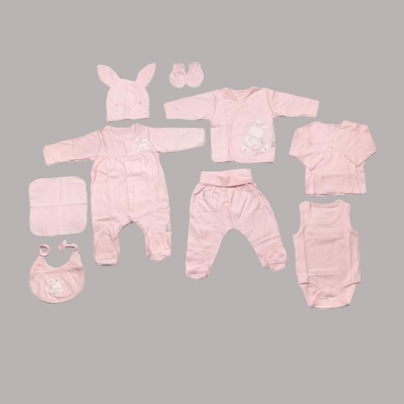 Бебешки комплект за изписване Bebetto от 10 части в розово за момичета. - Z666 - view 1
