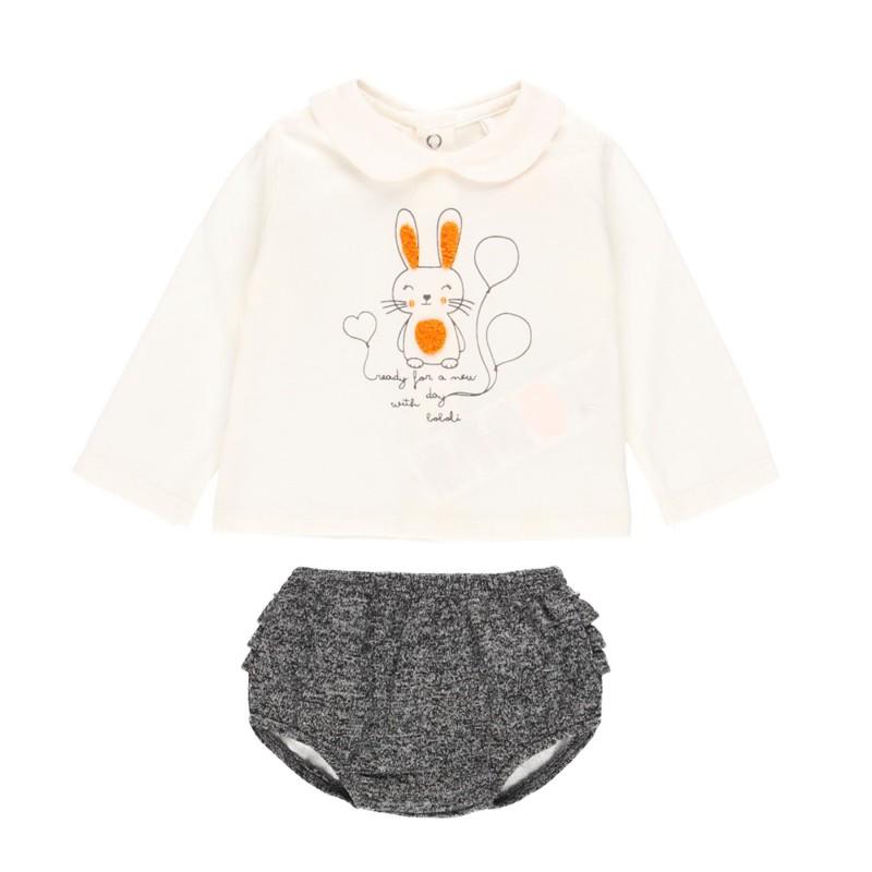 Комплект Boboli с тениска дълъг ръкав и гащички - 131005-1111 - view 1