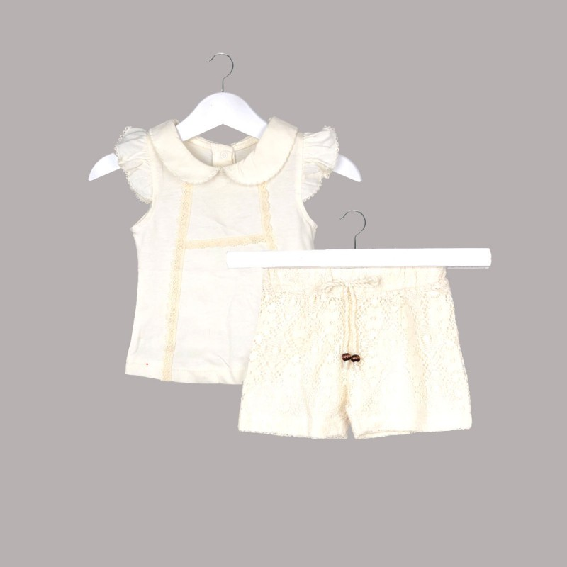Комплект Bebetto с блуза и къси панталони за бебе момиче - К2668 - view 1