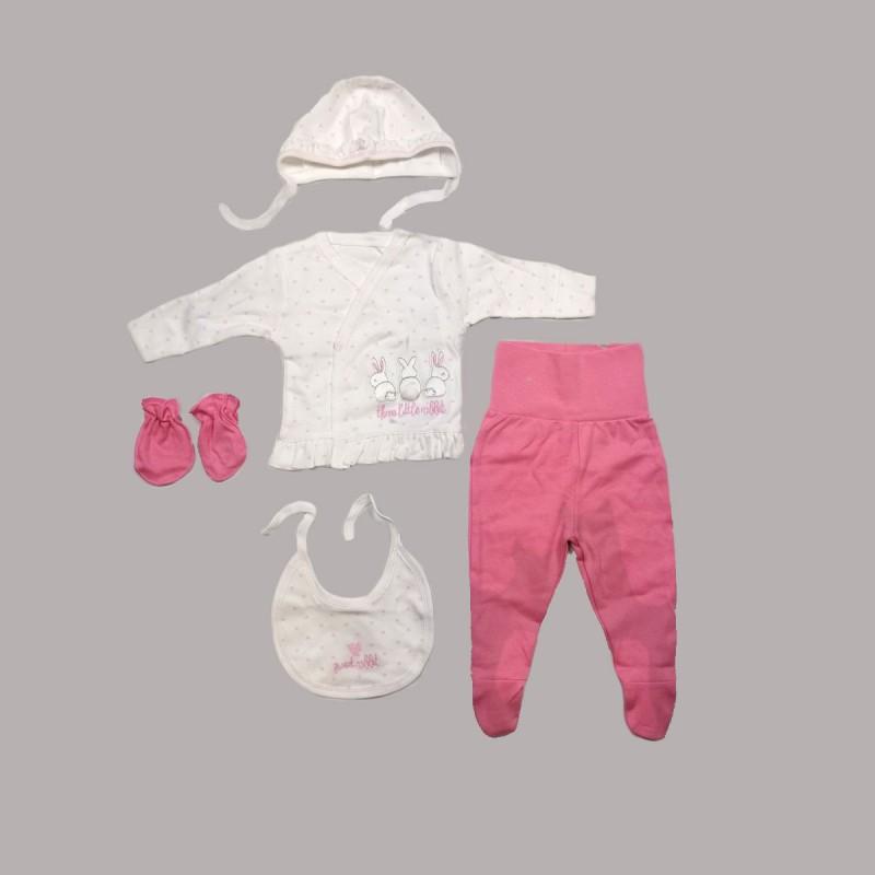 Комплект за изписване Bebetto от 5 части в розово и бялоза бебе момиче - Z644 - view 1