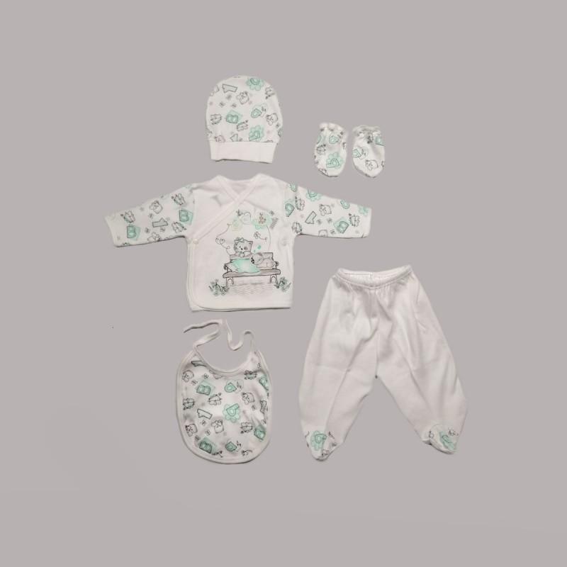 Комплект за изписванеEnfant от 5 части в бяло и зелено за бебе момиче - 50518-037 - view 1