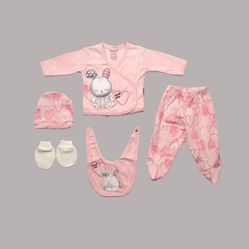 Комплект за изписванеEnfant от 5 части врозово за бебе момиче - 54071-011 - view 1