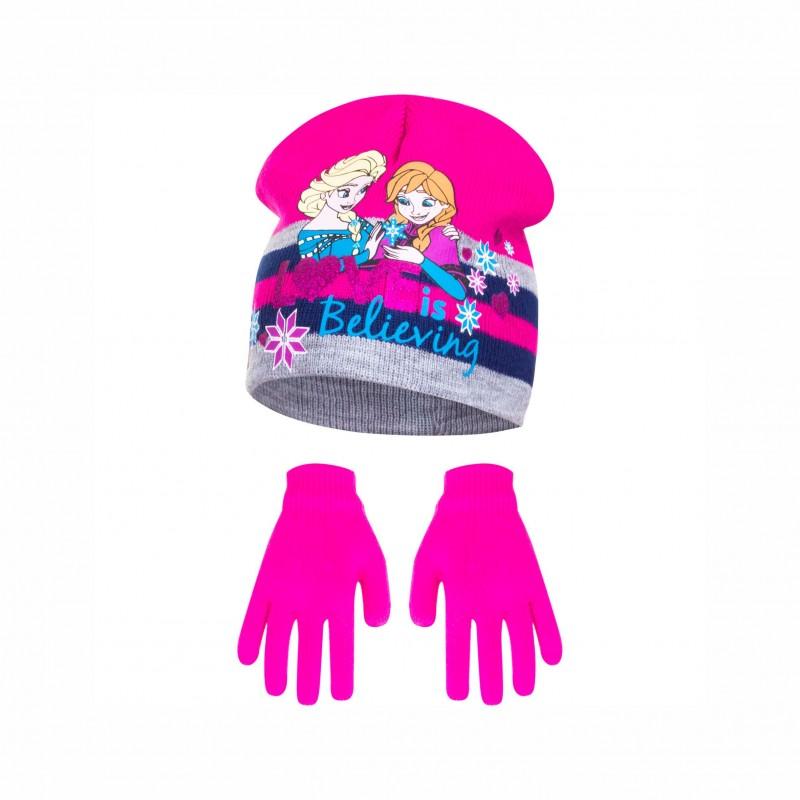 Комплект зимни аксесоари шапка и ръкавици Frozen (Замръзналото кралство) за момиче - HS4336 pink - view 1