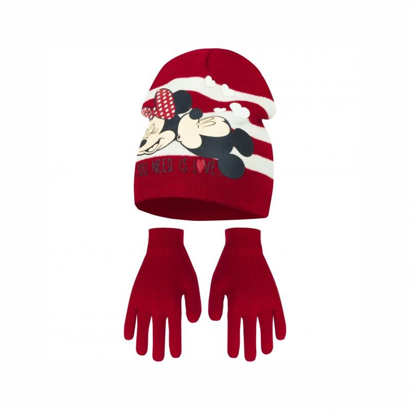 Комплект зимни аксесоари шапка и ръкавици Minnie Mouse (Мини Маус) за момиче - PH4324 red - view 1
