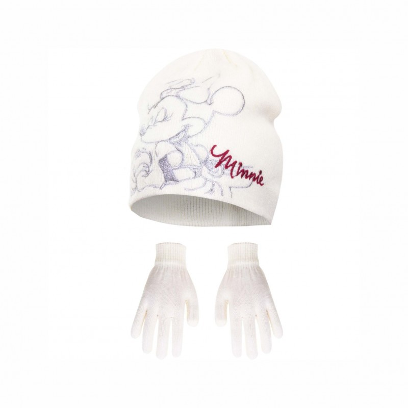 Комплект зимни аксесоари шапка и ръкавици Minnie Mouse (Мини Маус) за момиче - H11F4189 white - view 1
