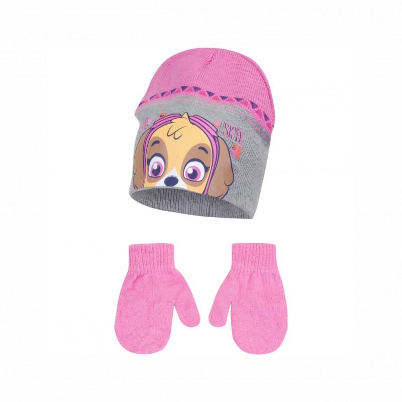 Комплект зимни аксесоари шапка и ръкавици Paw Patrol (Пес Патрул) за момиче - HQ4103 grey - view 1
