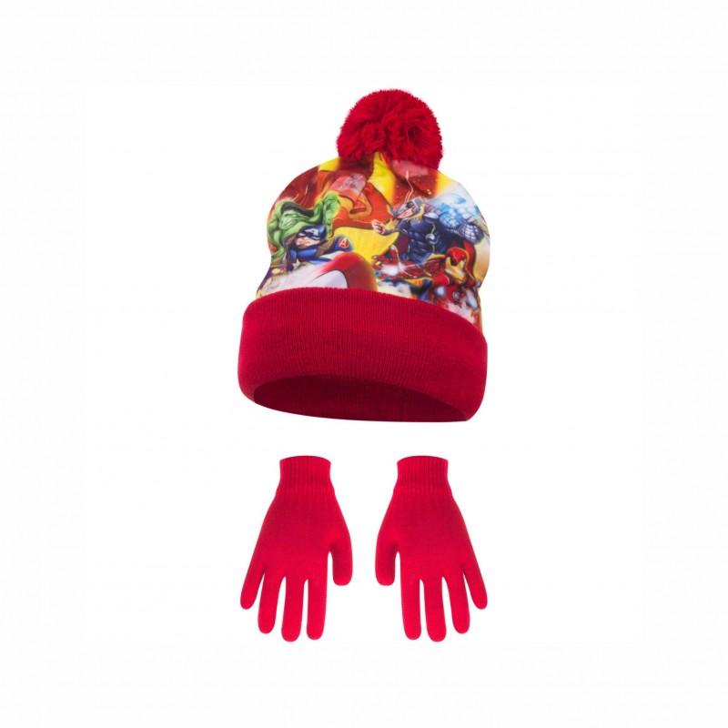 Комплект зимни аксесоари шапка и ръкавициAvengers (Отмъстителите) за момче - HQ4300 red - view 1
